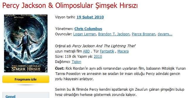Percy Jackson ve Olimposlular Şimşek Hırsızı - 2010 BRRip XviD - Türkçe Dublaj Tek Link indir